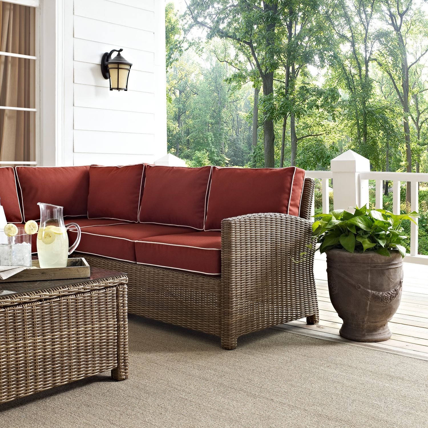 Destin 3 Piece Outdoor Sectional Chair And Cocktail Table Set Sangria Value City Furniture