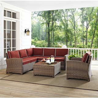 Destin 3-Piece Outdoor Sectional, Chair and Cocktail Table Set - Sangria