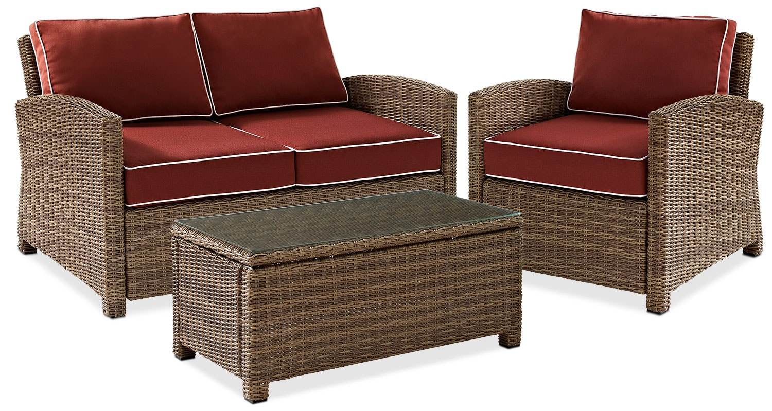 Destin Outdoor Loveseat Chair And Cocktail Table Set Sangria Value City Furniture And