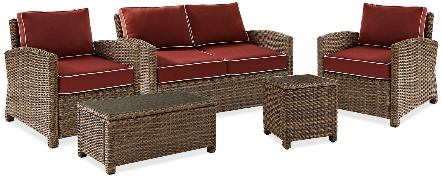 Outdoor Furniture   Destin Outdoor Loveseat, 2 Chairs, Cocktail Table And  End Table Set