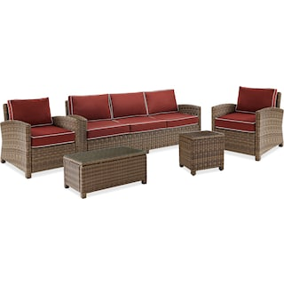 Destin Outdoor Sofa, 2 Chairs, Cocktail Table and End Table Set - Sangria