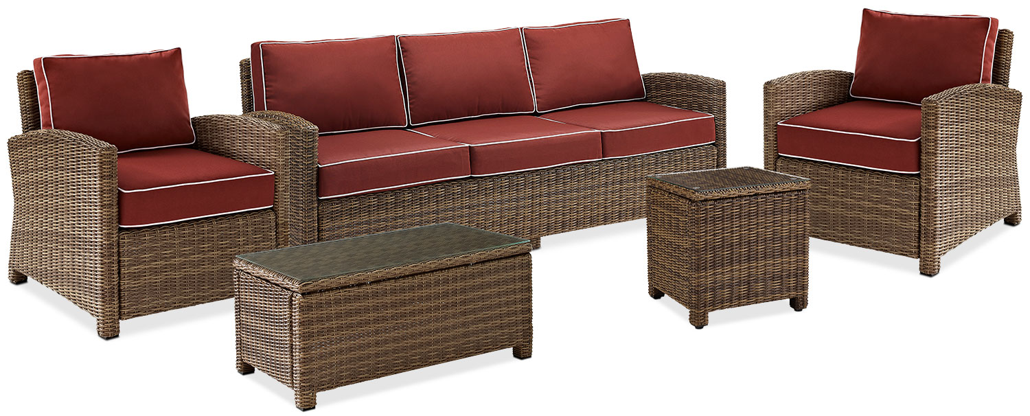 Outdoor Furniture   Destin Outdoor Sofa, 2 Chairs, Cocktail Table And End  Table Set