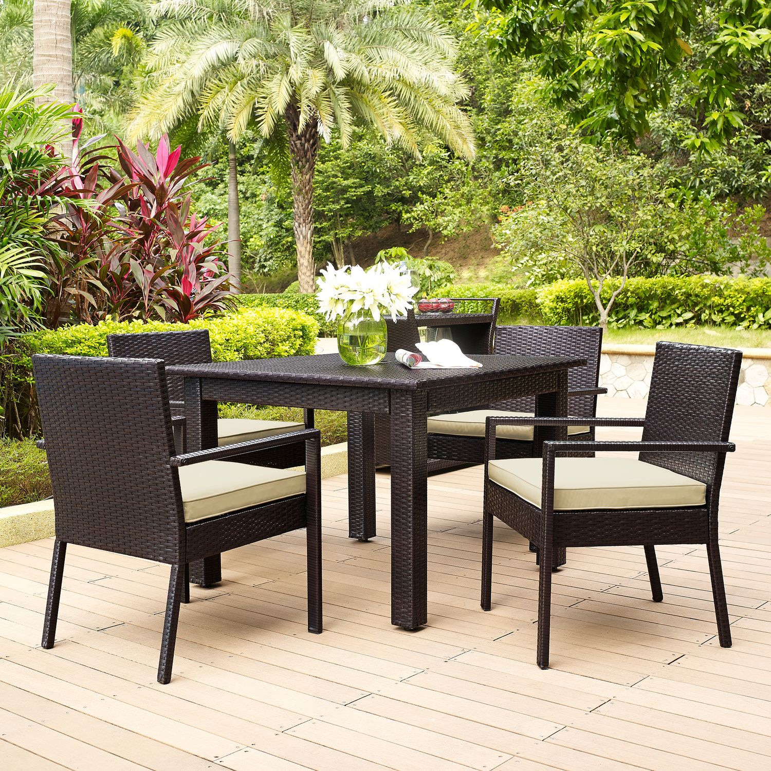 Outdoor Furniture - Aldo Outdoor Table and 4 Arm Chairs Set - Brown