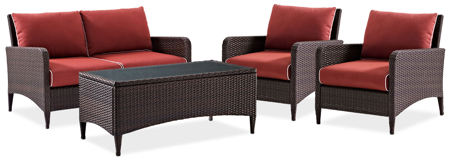 Outdoor Furniture - Corona Outdoor Loveseat, 2 Chairs and Coffee Table Set - Sangria