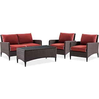 Corona Outdoor Loveseat, 2 Chairs and Coffee Table Set - Sangria