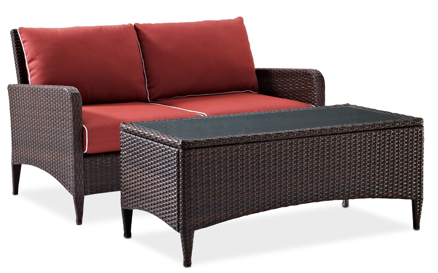 Outdoor Furniture - Corona Outdoor Loveseat and Coffee Table Set - Sangria