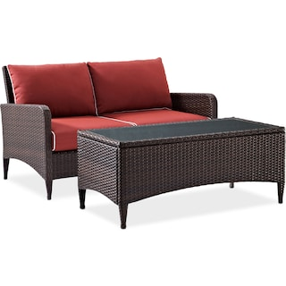 Corona Outdoor Loveseat and Coffee Table Set - Sangria