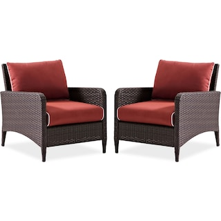 Corona Set of 2 Outdoor Chairs - Sangria