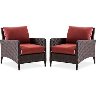 Corona Set of 2 Outdoor Chairs - Sangria