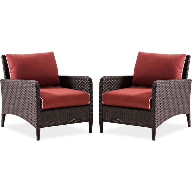 Outdoor Furniture - Corona Set of 2 Outdoor Chairs - Sangria