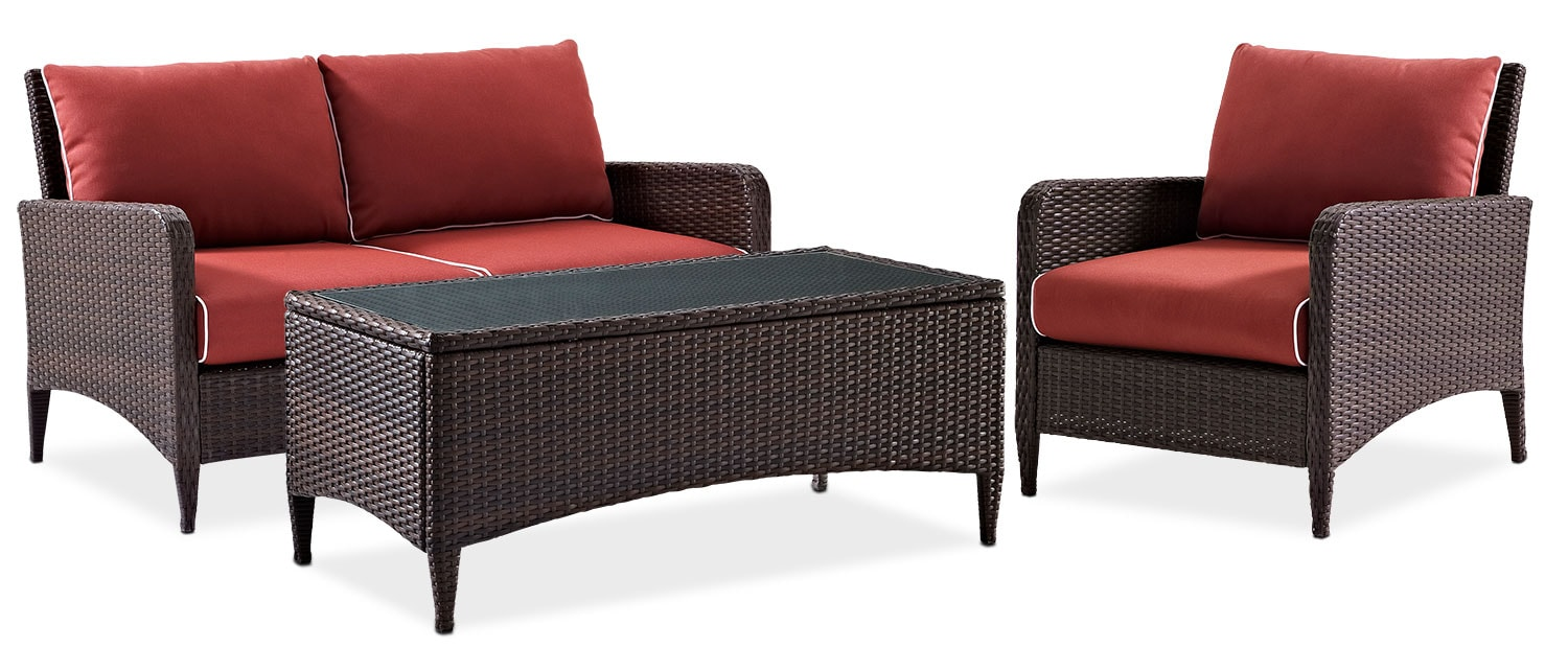 Outdoor Furniture - Corona Outdoor Loveseat, Chair and Coffee Table Set - Sangria
