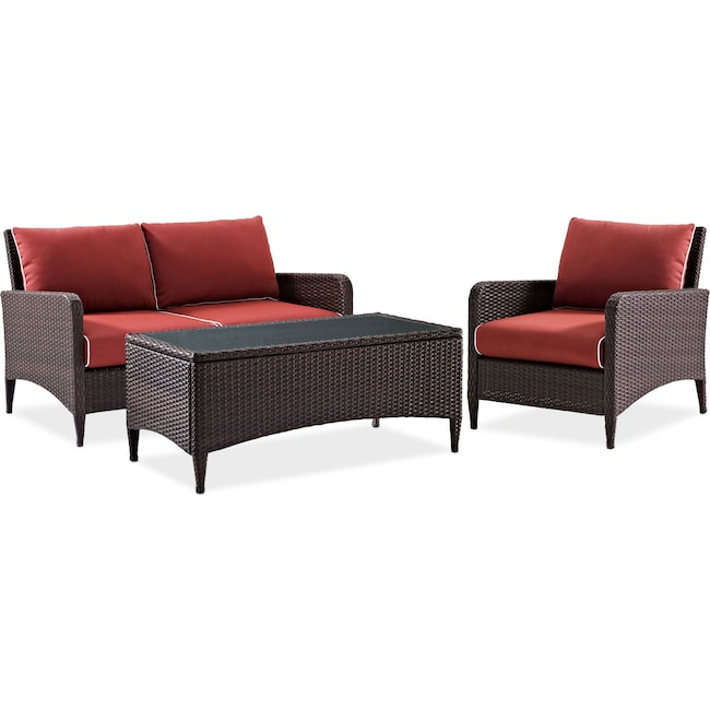 Outdoor Furniture - Corona Outdoor Loveseat, Chair and Cocktail Table Set -  Sangria - Corona Outdoor Loveseat, Chair And Cocktail Table Set - Sangria
