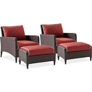Corona Set of 2 Outdoor Chairs and Ottomans - Sangria