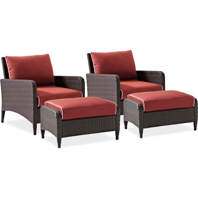 Outdoor Furniture - Corona Set of 2 Outdoor Chairs and Ottomans - Sangria