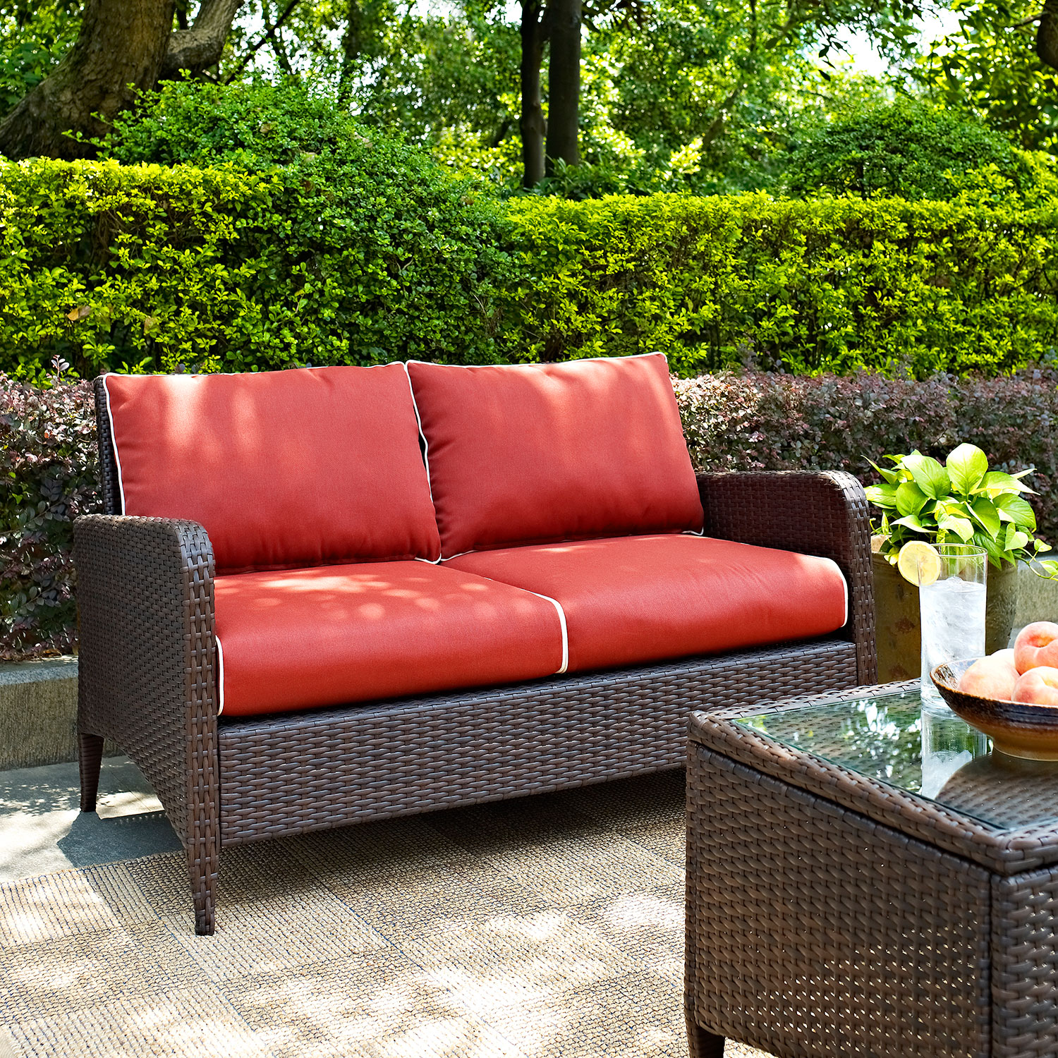 Corona Outdoor Loveseat Sangria Value City Furniture And Mattresses