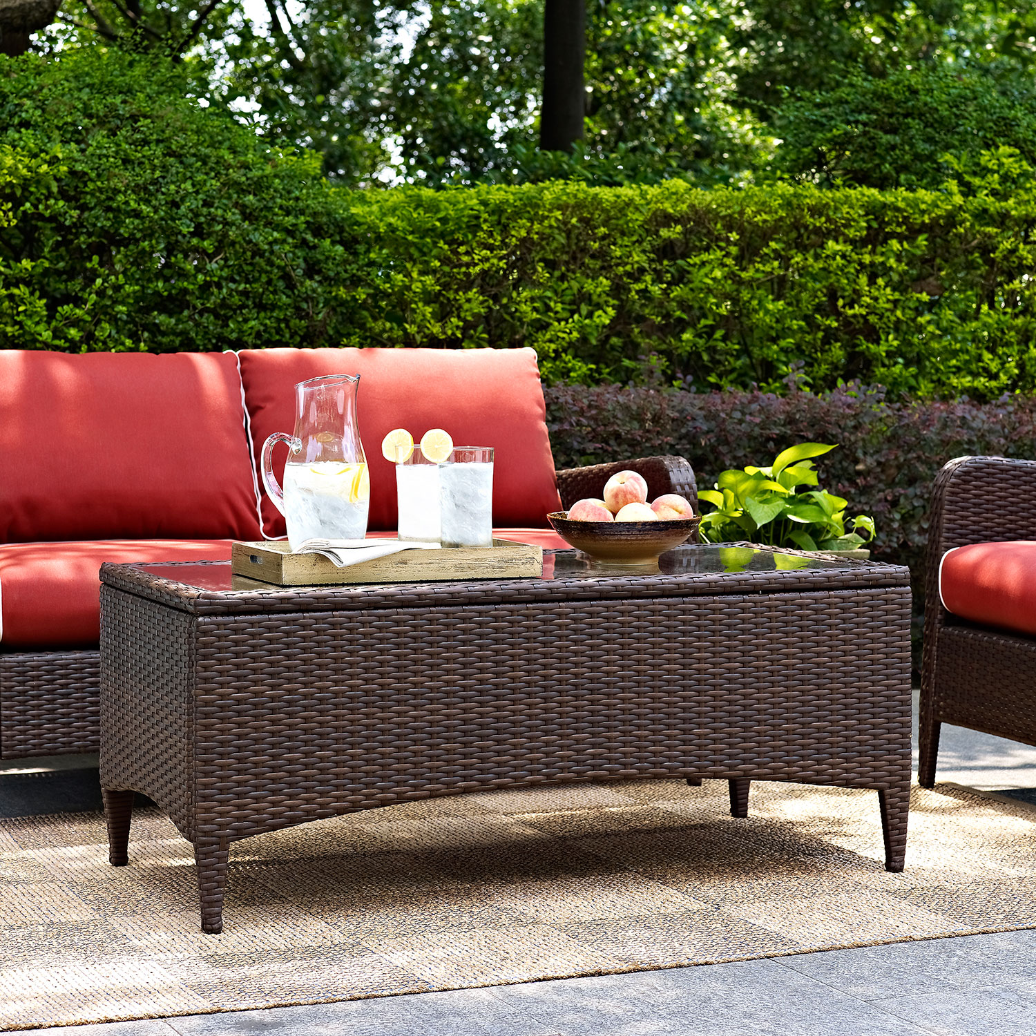 Corona Outdoor Loveseat And Cocktail Table Set Sangria Value City Furniture And Mattresses