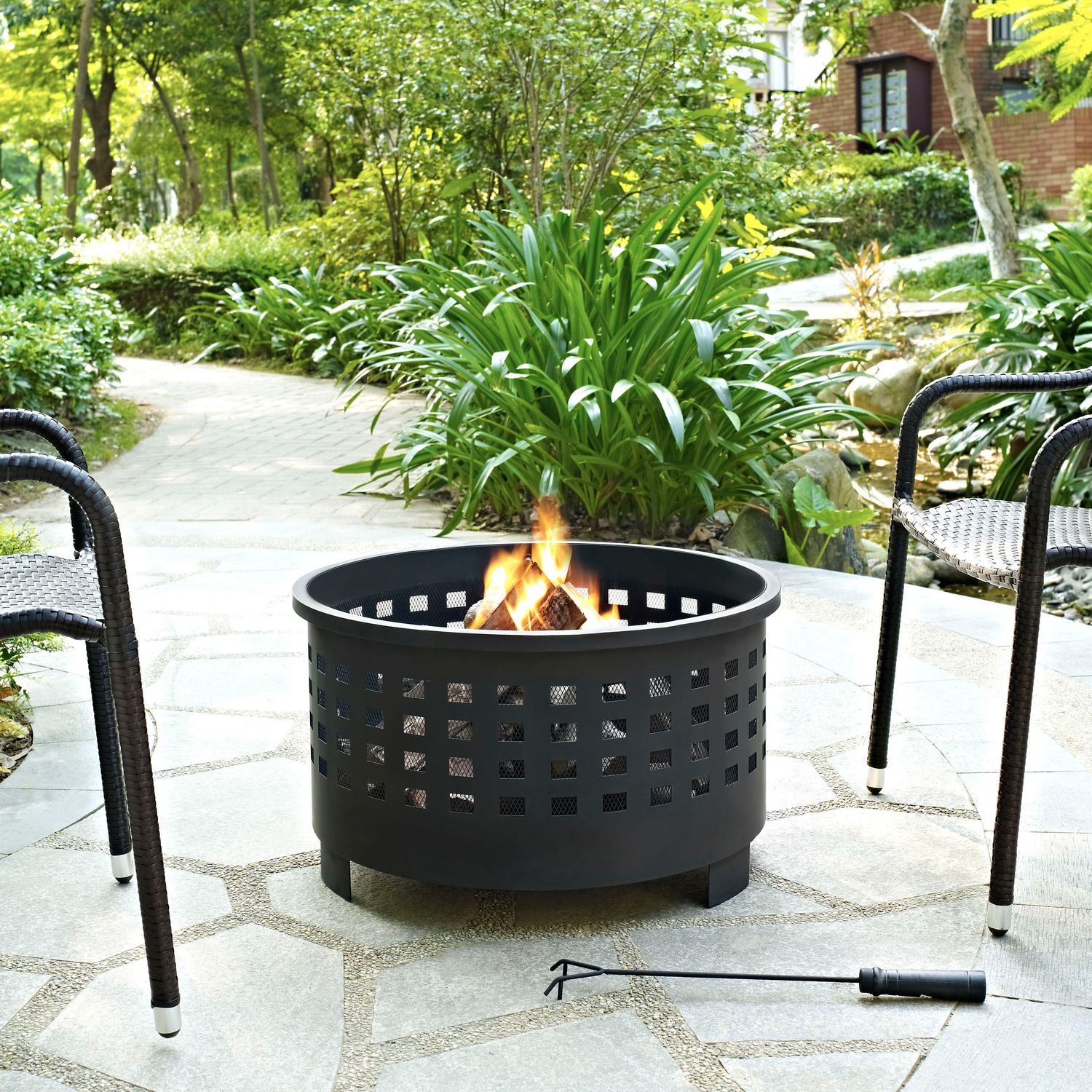 Outdoor Furniture - Calvin Fire Pit - Black