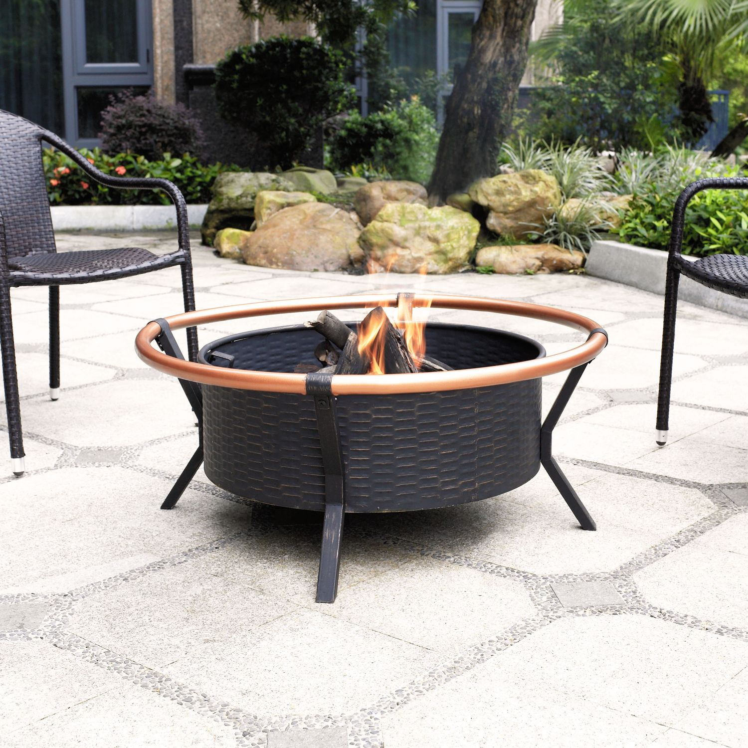 Outdoor Furniture - Elliott Fire Pit - Black