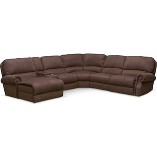 Dartmouth 6-Piece Power Reclining Sectional w/ Left-Facing Chaise and 1 Reclining Seat - Mocha