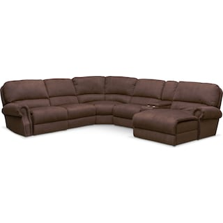 Dartmouth 6-Piece Power Reclining Sectional w/ Right-Facing Chaise and 2 Reclining Seats - Mocha