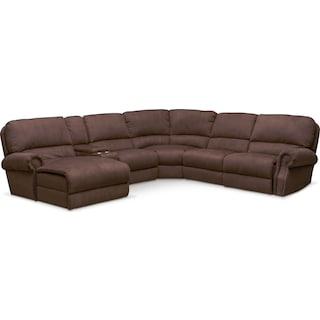 Dartmouth 6-Piece Power Reclining Sectional w/ Left-Facing Chaise and 2 Reclining Seats - Mocha