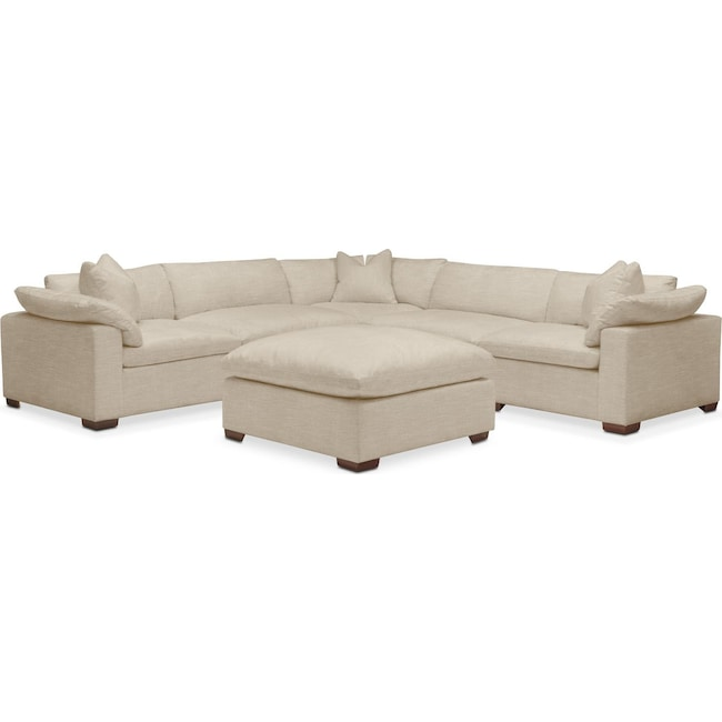 Living Room Furniture - Plush 6 Pc. Sectional- in Depalma Taupe