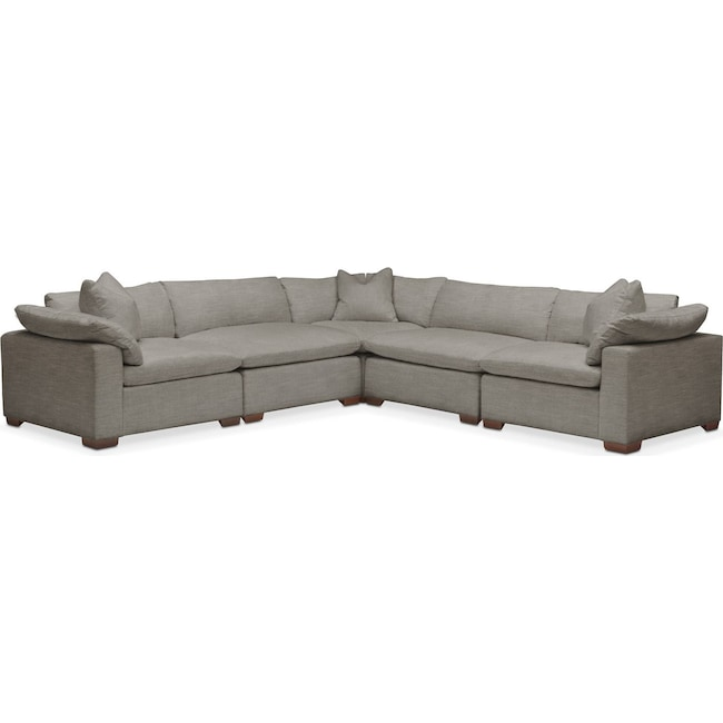 Living Room Furniture - Plush 5 Pc. Sectional- in Victory Smoke