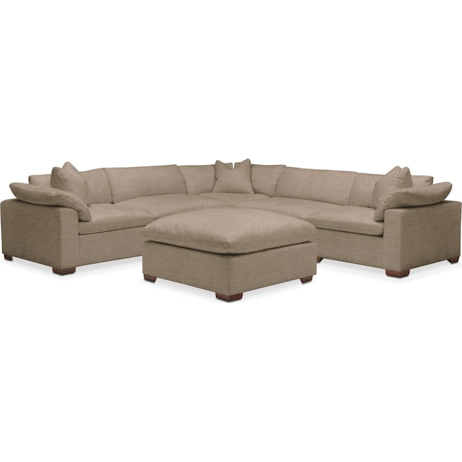 Living Room Furniture - Plush 6 Pc. Sectional- in Statley L Mondo
