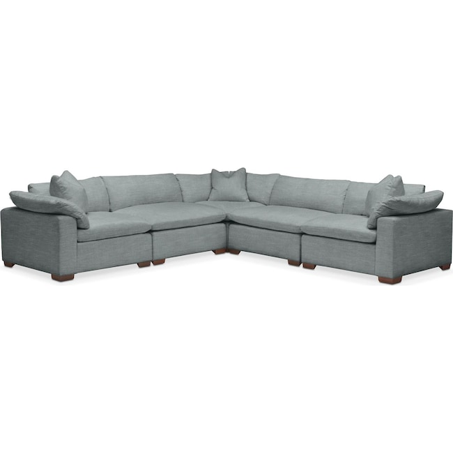 Living Room Furniture - Plush 5 Pc. Sectional- in Abington TW Seven Seas