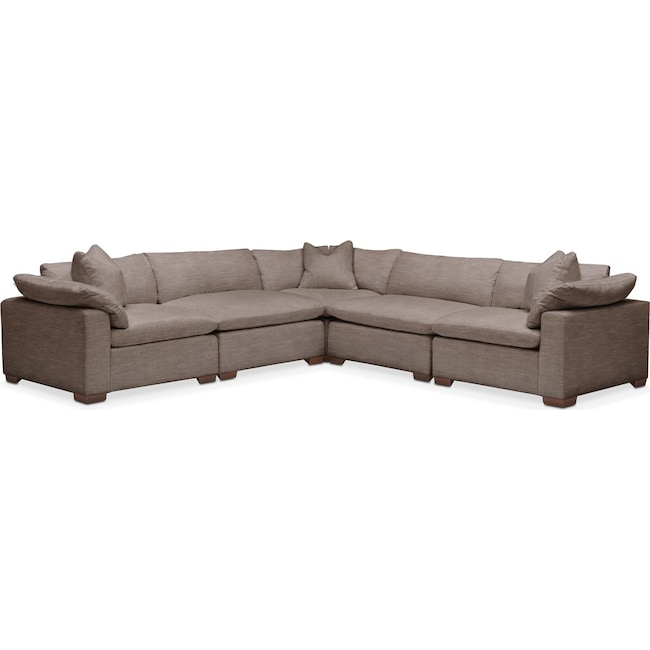 Living Room Furniture - Plush 5 Pc. Sectional- in Hugo Mocha