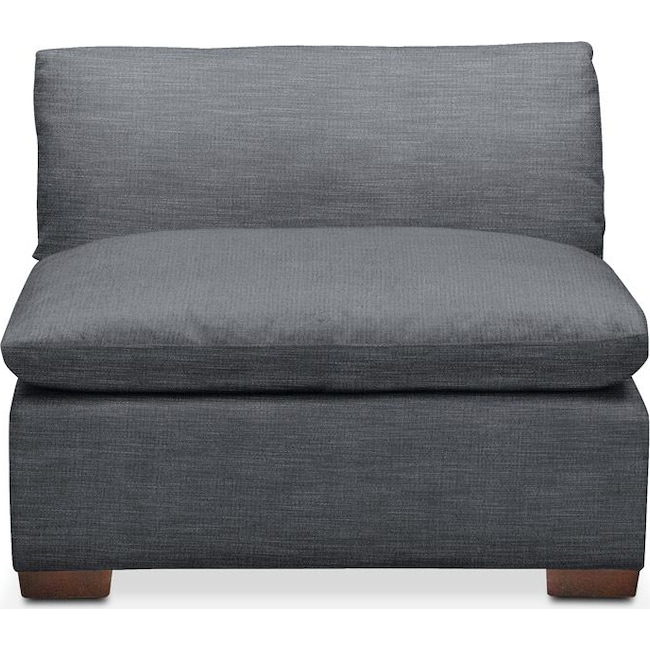 Living Room Furniture - Plush Armless Chair- in Milford II Charcoal