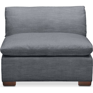 Plush Armless Chair- in Dudley Indigo