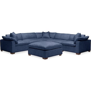 Plush 6 Pc. Sectional- in Abington TW Indigo