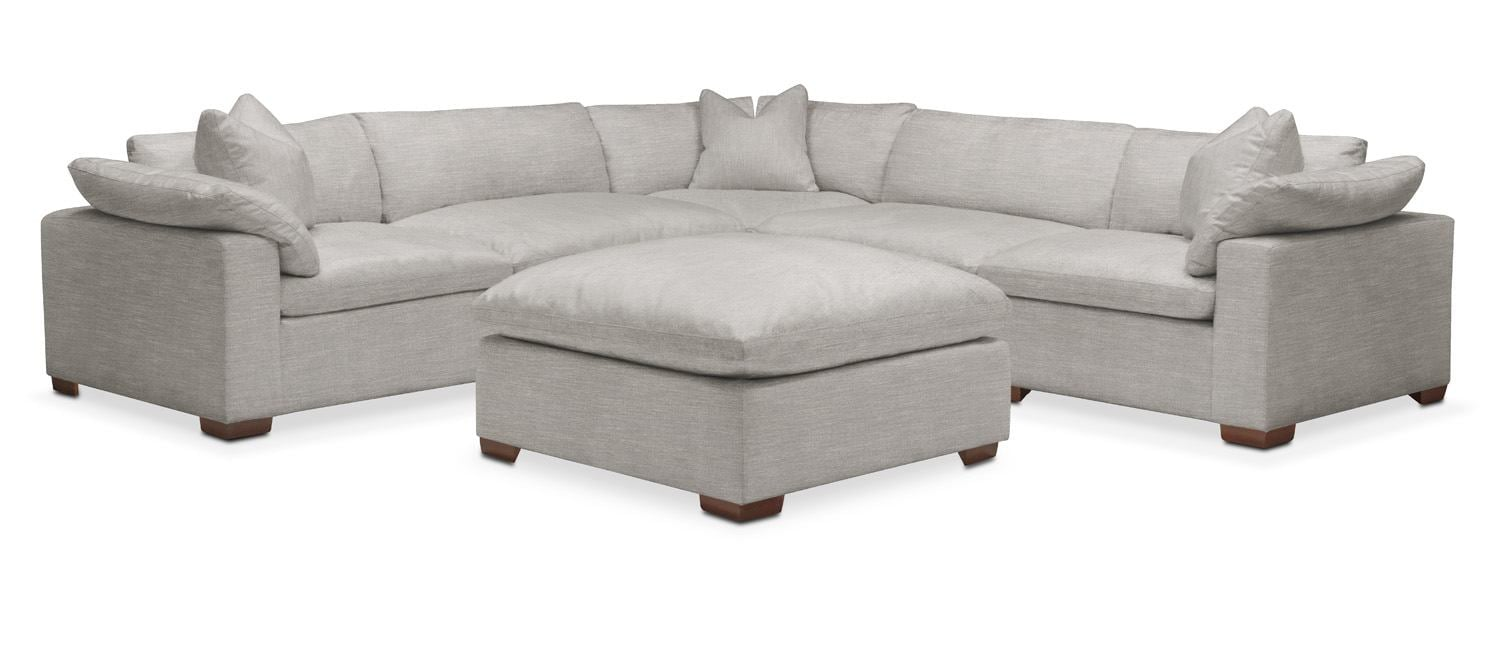 Living Room Furniture - Plush 5-Piece Sectional with Ottoman