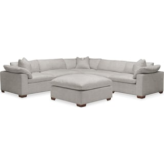 Plush 5-Piece Sectional with Ottoman