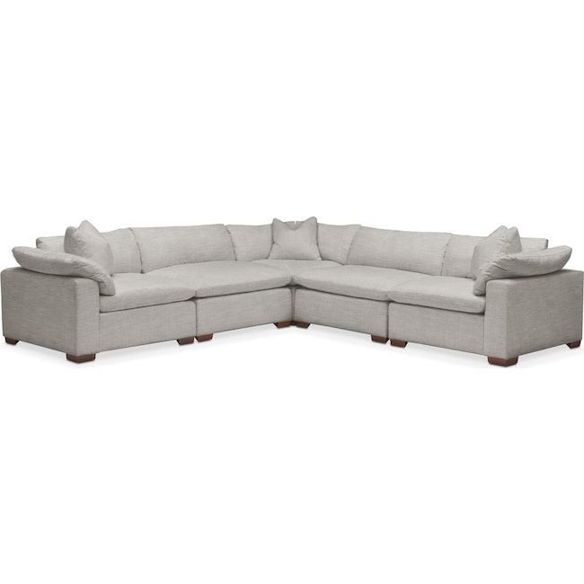 Living Room Furniture - Plush 5 Pc. Sectional- in Dudley Gray