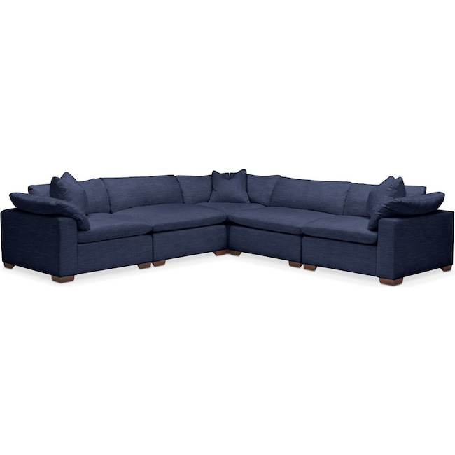 Living Room Furniture - Plush 5 Pc. Sectional- in Oakley III Ink