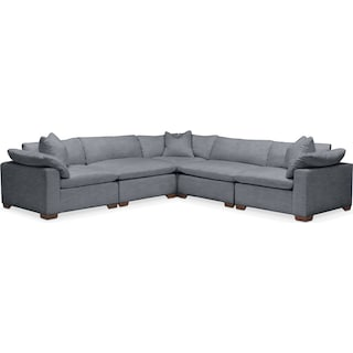 Plush 5 Pc. Sectional- in Dudley Indigo