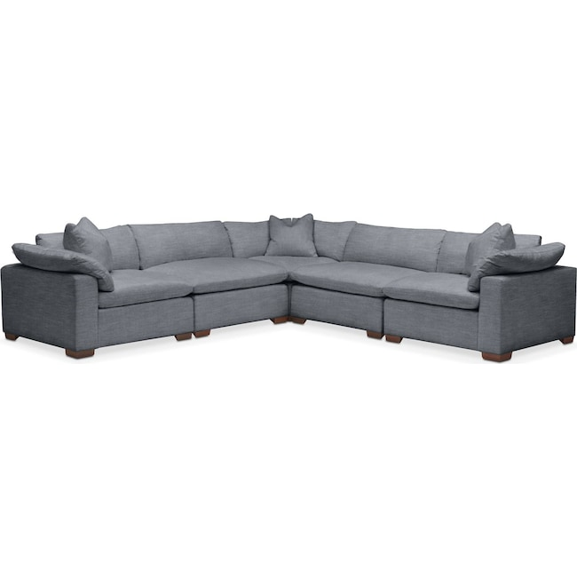 Living Room Furniture - Plush 5 Pc. Sectional- in Dudley Indigo