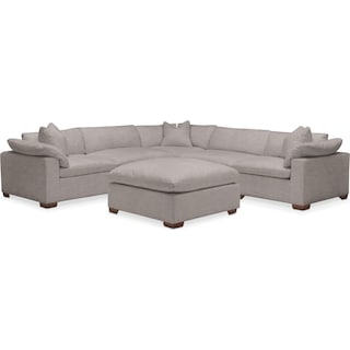 Plush 6 Pc. Sectional- in Curious Silver Rine