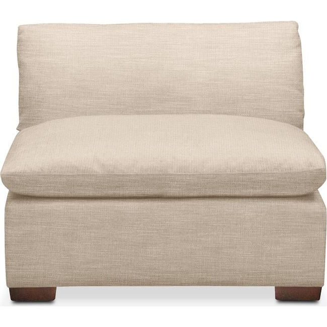 Living Room Furniture - Plush Armless Chair- in Dudley Buff