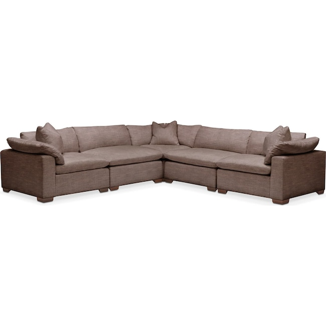 Living Room Furniture - Plush 5 Pc. Sectional- in Oakley III Java