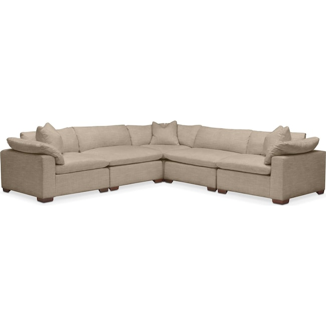 Living Room Furniture - Plush 5 Pc. Sectional- in Dudley Burlap
