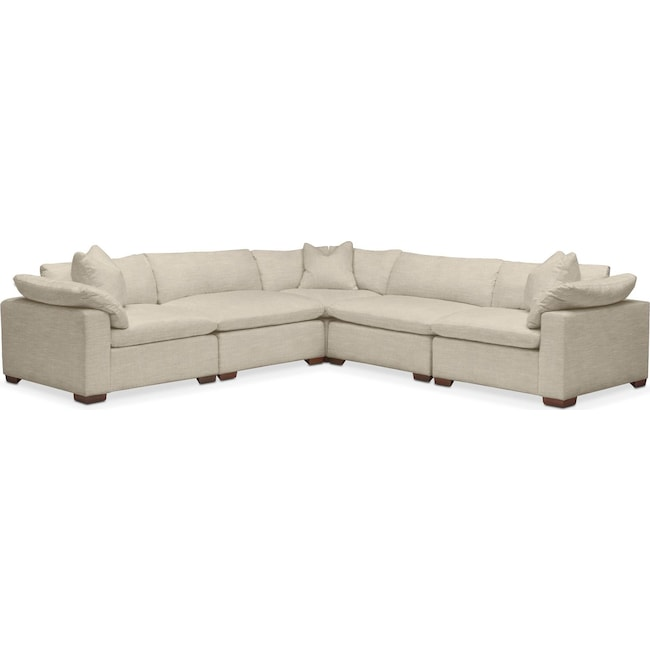 Living Room Furniture - Plush 5-Piece Sectional - Abington TW Barley