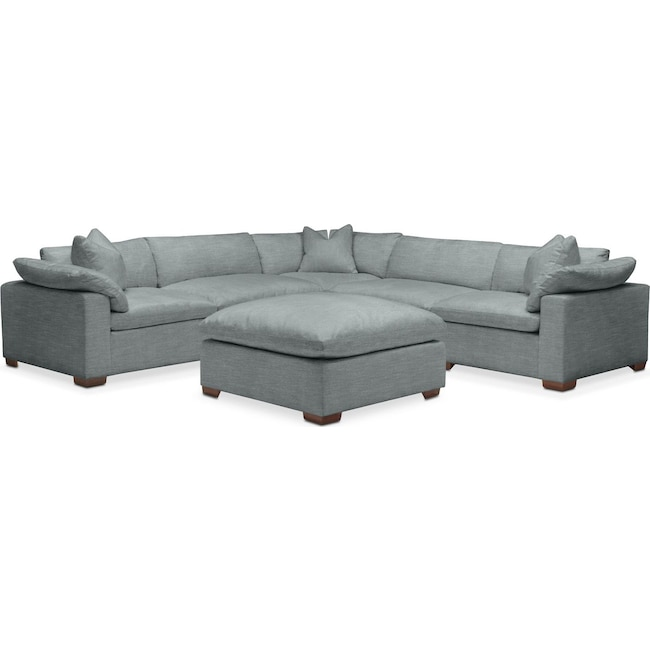 Living Room Furniture - Plush 6 Pc. Sectional- in Abington TW Seven Seas