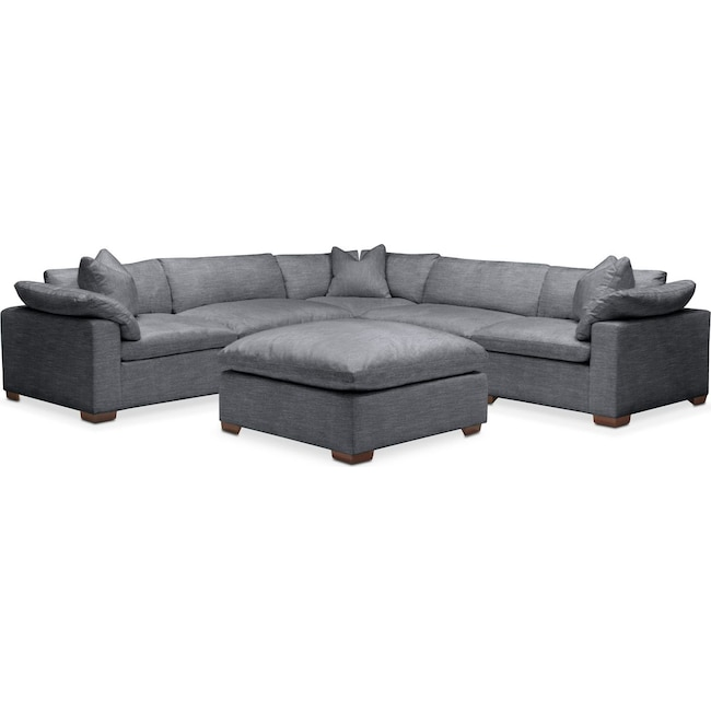 Living Room Furniture - Plush 6 Pc. Sectional- in Milford II Charcoal