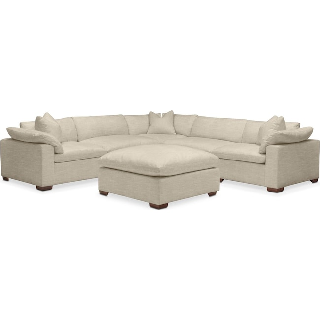 Living Room Furniture - Plush 6 Pc. Sectional- in Abington TW Barley