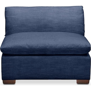 Plush Armless Chair- in Abington TW Indigo