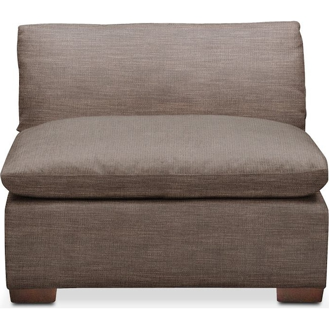 Living Room Furniture - Plush Armless Chair- in Hugo Mocha