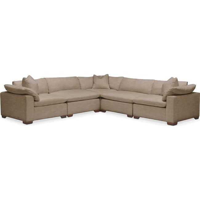 Living Room Furniture - Plush 5-Piece Sectional - Statley L Mondo